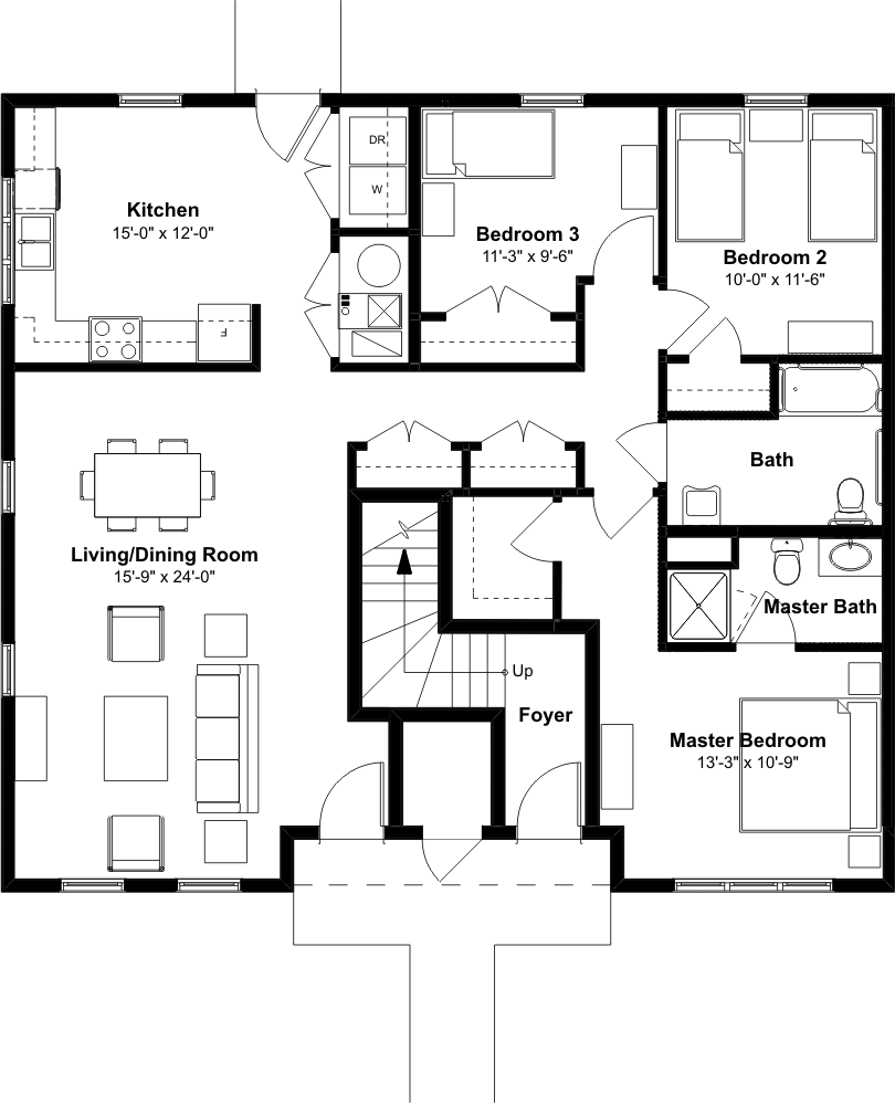 3 bedroom 2 bath townhome emerson square for 3 bedroom unit floor plans