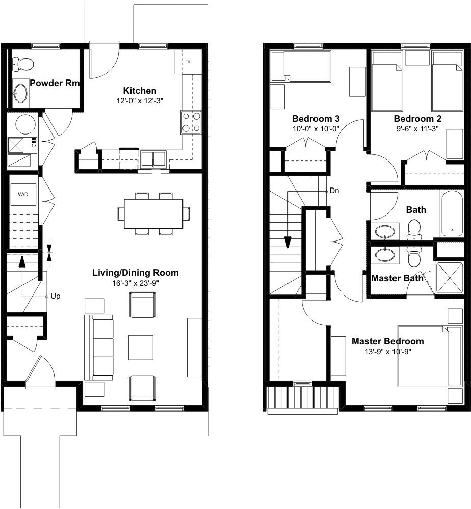 3 bedroom 2 1 2 bath townhome emerson square for Floor plan 2 bedroom
